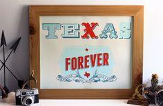 Texas Forever - Friday Night Lights Inspired Hand Printed Silkscreen 16 x 20 Art Print - Hero Design Studio
