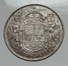 1951 CANADA - Large SILVER 50 Cents Coin - UK King GEORGE VI Coat-of-Arms i62877