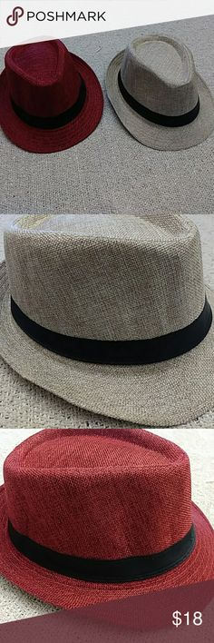 Fedora Hats Brand new without tags beautiful fedora hats in either burgundy or cream with black silky trim. For men or women. Accessories Hats
