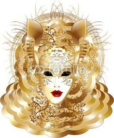#Golden #Venice #Carnival #Party #Mask-#Vector © bluedarkat