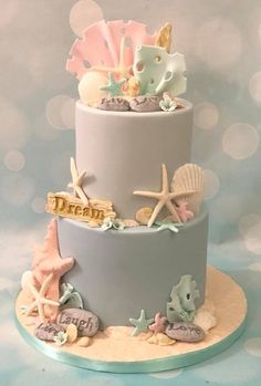 50 Ideas Wedding Cakes Beach Theme Starfish For 2019 Baby Cakes, Girly Cakes, Sea Cakes, Cupcake Cakes, Beach Themed Cakes, Themed Wedding Cakes, Themed Birthday Cakes, Beach Birthday Cakes, Mermaid Birthday