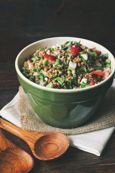 Wheat Berry Kale Salad with Rhubarb-Ginger Vinaigrette-make the dressing!
