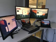 My ultimate standing desk setup. They say additional screens increase productivity. Pc Setup, Desk Setup, Youtube Setup, Computer Desks, Best Headphones, Increase Productivity, Personal Space, Dns, Anonymous