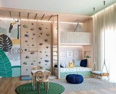 A kids playroom that has it all. Adventures await all children in here with a climbing wall, seeing, teepee, acrobatic ring and bar. Playroom Design, Kids Room Design, Playroom Storage, Girl Room, Girls Bedroom, Master Bedroom, Cool Kids Rooms, Play Room For Kids, Children Playroom