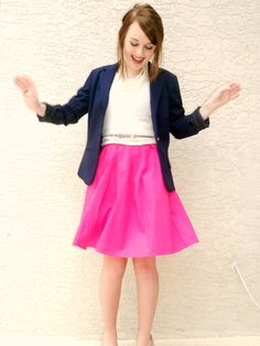Navy blazer and a hot pink skirt.