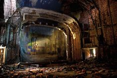 "Palace Theatre in Gary, Indiana was built in 1925 and served as a movie theater until it was abandoned in 1972 after the town's US Steel plant went into decline. - Image from Julia Solis' hauntingly beautiful ""Stages of Decay. Abandoned Buildings, Abandoned Places, Abandoned Castles, Haunted Pictures, Urban Decay Photography, House Photography, Photography Series, Urban Exploration, Movie Theater"