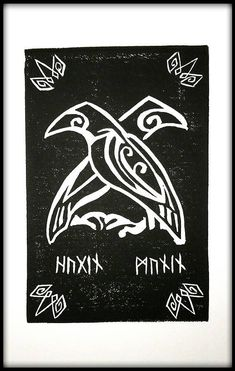 Items similar to Hugin & Munin Odin's Ravens Block Print on Etsy If you are into Norse Mythology or just like ravens, this is the print for you! I began learning of Norse Mythology because of Neil Gaiman (I loved American Gods! Norse Mythology Tattoo, Norse Tattoo, Viking Tattoos, Tattoo Symbols, Tattoo Wolf, Inca Tattoo, Norse Runes, Viking Symbols, Viking Runes