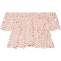 Miguelina Angelica off-the-shoulder layered cotton-lace top (€340) ❤ liked on Polyvore featuring tops, shirts, crop tops, blouses, lace tops, off the shoulder tops, pink off shoulder top, off shoulder lace top and off-shoulder crop tops