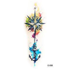 Wyuen New Design Compass Anchor Fake Tattoo Waterproof Temporary Arm Tatoo Stick. - Tattoo, Tattoo ideas, Tattoo shops, Tattoo actor, Tattoo art - Wyuen New Design Compass Anchor Fake Tattoo Waterproof Temporary Arm Tatoo Stick… - Mini Tattoos, Small Tattoos, Tattoos For Guys, White Tattoos, Forearm Tattoos, Body Art Tattoos, Tatoos, Wrist Tattoo, Arrow Tattoos