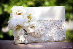 ring bearer silk box~ adorned with lace feathers and roses