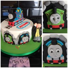 Thomas The Tank Engine Single Tier Cake, all handcrafted, entirely edible, Thomas, The Fat Controller, Percy, and Gordon. For a 3 year olds birthday Mrs B's Bespoke Cakes https://mrs-bs.co.uk/ https://www.facebook.com/mrsbcakeologist/