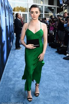 A girl grows up! Maisie Williams was a vision in green at the Game Of Thrones premiere in Los Angeles on Wednesday night