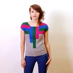 Crochet Pattern PDF - Drop Down Top - sizes XS to XL/2XL - Crochet Top Sweater Pattern instant download