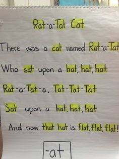 rat a tat cat -at WORD WORK met gedig  Second Grade Sugar and SPice