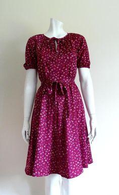 1970's 1940's style ditsy floral burgundy vintage tea dress DEW VINTAGE  http://stores.ebay.co.uk/Dew-Vintage https://www.facebook.com/DewVintage