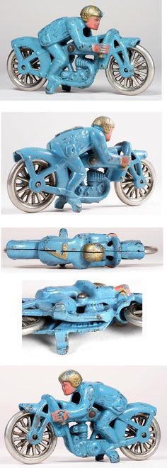 c.1933 Hubley, Cast Iron Hill Climber #7 Blue Motorcycle