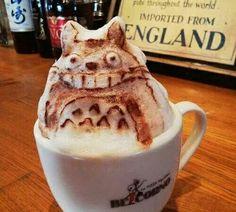My Neighbor Totoro, Studio Ghibli, latte art; How To Make Coffee, I Love Coffee, Coffee Break, Totoro, Coffee Latte Art, Create A Cake, Coffee Photography, Cute Food, Food Art