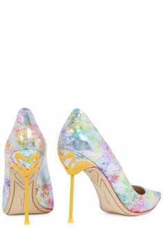 LOVE the Flamingo detail on the heels and LOVE the multi colour/silver of the shoes. Coco Flamingo metallic leather pumps