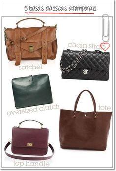 Cinco bolsas clássicas para o dia a dia