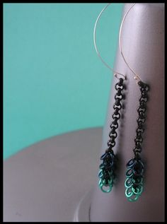 Darkest Sea Valletta chainmaille earrings by Red Panda Chainmaille