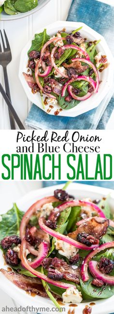 Every bite of pickled red onion and blue cheese spinach salad is the perfect bite! The bold flavors of blue cheese, maple bacon, and dried cranberries compliment the pickled red onions, creating the perfectly balanced dish — salty, sweet, acidic. | aheadofthyme.com #salad #spinach #vegetarian #glutenfree via @aheadofthyme