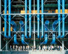 photograph of centre pompidou in paris, an early collaboration by richard rogers and renzo piano on display at royal academy of arts as part of the 'inside out' retrospective exhibition Renzo Piano, Georges Pompidou Centre, Centre Pompidou Paris, Louis Kahn, Richard Rogers, Rogers Centre, Royal Academy Of Arts, Galleries In London, Things To Do In London