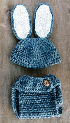 Crochet Bunny Rabbit Set Baby Diaper Cover