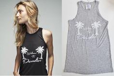 ZOE KARSSEN WELCOME TO PARADISE TANK Gray Sleeveless Top S Palm Trees #ZoeKarssen #TankCami #Any
