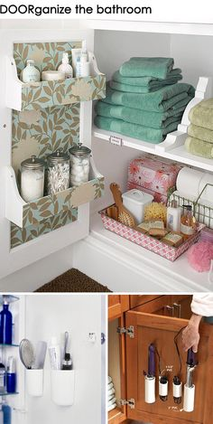 Get DOORganized: Ideas for Organizing the back of cabinet doors in the bathroom, kitchen, laundry room, craft room, and pantry! You can basically organize the whole house!
