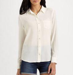 NWT EQUIPMENT Brett Silk Shirt Blouses, Nature White, Medium, MSRP $208 #EQUIPMENT #Blouse #Careercausal