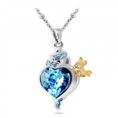 Blue Crystal Inlaid Pendant With Golden Crown Necklace