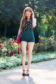 Vintage Polka Dots and Stripes Outfit, with high waisted green shorts