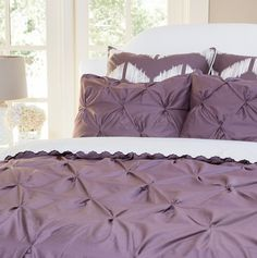 Bedroom inspiration and bedding decor   The Valencia Plum Purple Pintuck Duvet Cover   Crane and Canopy