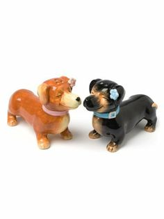 """4"""" Ceramic Kissing Figural Dachshund Dog Puppy Salt and Pepper Shakers by American Chateau. $11.99. Size: 2.6"""" H x 3.8"""" L x 1.3"""" W. You get 1 set. Material: CERAMIC. Color: Multicolor. Color: Multicolor; Material: CERAMIC; Size: 2 3/5"""" H x 3 4/5"""" L x 1 1/3"""" W; You get 1 set"""