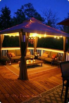 Check out our new gazebo deck and outdoor furniture at Thrifty Decor Chick! Check out our new gazebo deck and outdoor furniture at Thrifty Decor Chick! Click The Link For See Casa Patio, Backyard Patio, Backyard Ideas, Pergola Ideas, Deck Gazebo, Porch Ideas, Patio Ideas, Pergola Kits, Gazebo Canopy