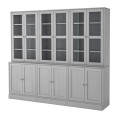IKEA HAVSTA Storage combination w glass-doors Grey 243 x 47 x 212 cm Made of wood from sustainable sources. Glass Cabinet Doors, Sideboard Cabinet, Glass Doors, Ikea Family, Tempered Glass Shelves, Scandinavian Furniture, Ikea Kitchen, Built Ins, Home Furnishings