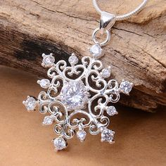 Women Creative 925 Silver Plated Cubic Zirconia Snowflake Necklace Pendant Hot #Unbranded #FashionCreative