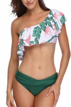 One Shoulder Bikini Swimsuit for Women, Ruffle Floral Bikini Top and Sexy Triangle Bottom Flounce Bathing Suit Cute Swimsuits, Cute Bikinis, Women Swimsuits, Sexy Bikini, Bikini Swimsuit, Bikini Top, Bikini For Curves, One Shoulder Bikini, Two Piece Swimwear