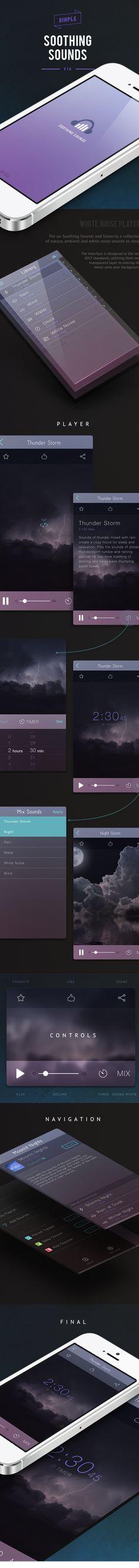 Soothing Sounds - iPhone App by Dianna Su, via Behance Mobile Ui Design, App Ui Design, User Interface Design, Web Design, Application Design, Mobile Application, Desktop Design, Tablet Ui, Mobile App Ui