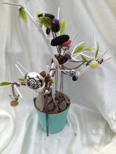 Vintage Button Necklaces displayed on wire tree.  $10 Etsy.