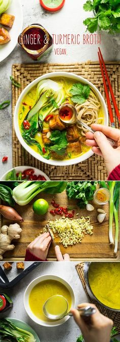 Ginger and turmeric broth - Lazy Cat Kitchen - Vegan turmeric ginger broth with noodles, baked tofu and greens - Vegan Soups, Vegan Dishes, Vegetarian Soup, Vegan Ramen, Vegan Curry, Fall Vegetarian Recipes, Vegan Stew, Vegetarian Cookbook, Vegan Chili
