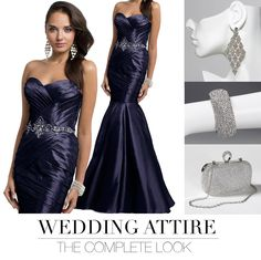 Camille La Vie Strapless Taffeta Mermaid Long Dress with earrings, clutch bag and bracelet to match