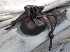 Leather Drawstring Pouch Bag Dark Chocolate Brown Leather by Shirlbcreationstoo