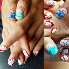 Lilo and Stitch nail art, featuring Stitch, Scrump, and Lilo print dress.  #Disney #LiloAndStitchNails #StitchAndScrump #Stitch #Scrump #HoustonNailArt #Akyish
