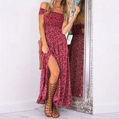 Sexy Side Split Off Shoulder Printed Summer Dress