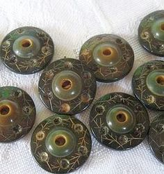 Carved and tinted Vegetable Ivory Buttons