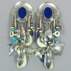 Tabra Vintage Lapis Silver Earrings