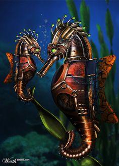 Mechanical #Steampunk seahorses