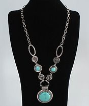 """Turquoise Necklace One Large Stone Two Small Stones  $15.00  Necklace Length 27.6"""" / 70.0 cm Pendant Size (1.6 x 0.4 )"""" / ( 4.0 x 1.0 )mm (Dia x H)"""