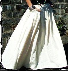 Linen Skirts Long Full Length   ... : White women skirt fashon skirts Long Skirts Linen Skirt - Skirts